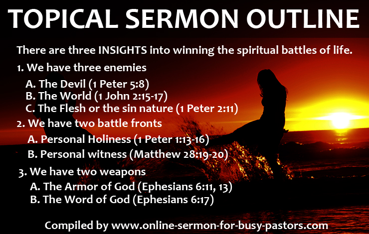 Sermons Start preaching your best sermons now! Search our library of sermon outlines by topic to find fresh ideas for every week of the year With sermon ideas from top pastors such John Piper Max Lucado David Jeremiah Dave Stone and Matt Chandler you can find new inspiration to craft and preach powerful lifechanging messages